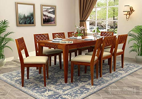 UrbanWood Sheesham Wood Dining Table 8 Seater | with 8 Chairs | Dinning Room Sets | Honey Finish