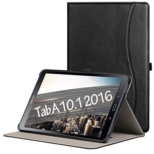ZtotopCase Hülle für Samsung Galaxy Tab A 10,1 2016,für Modell SM-T580/SM-T585 (Keine S Pen-Version),Leder Geschäftshülle mit Ständer,Auto Schlaf/Aufwach Funktion,Schwarz