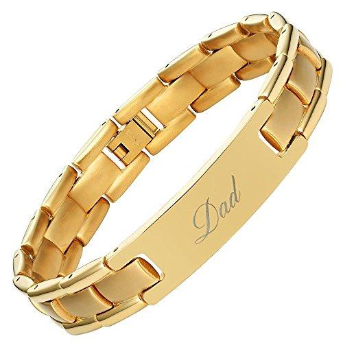 """Willis judd, braccialetto in titanio, con incise le scritte """"dad"""" e """"best dad ever"""", con (in omaggio) strumento per togliere le maglie e confezione regalo"""