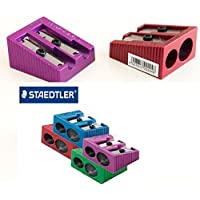 Bargain Gateway Staedtler Double Hole Metallic Edition Sharpeners, Assorted Colours 4 Pack