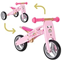 BIKESTAR Safety Wooden Lightweight First Running Balance Bike for Kids age 2 year old boys   7 Inch convertible Mini 2 in 1 Bike and Tricycle for Early Riders  