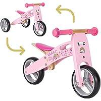 BIKESTAR Mini Kinder Laufrad Holz Lauflernrad mit drei Rädern für Mädchen ab 1 – 1,5 Jahre ★ 2 in 1 Kinderlaufrad ★ Flamingo Pink