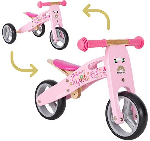 BIKESTAR Vélo Draisienne Enfants et Tricycle en Bois pour Garcons et Filles de 18 Mois ★ Vélo sans pédales Mini (Combinaison 2 et 3 Roues) évolutive 7 Pouces ★ Rose