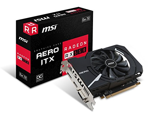 MSI Radeon RX 550 Aero ITX OC 2GB AMD GDDR5 1x HDMI, 1x DP, 1x DL-DVI-D, 2 Slot Mini PC Afterburner OC, AMD FreeSync, Grafikkarte