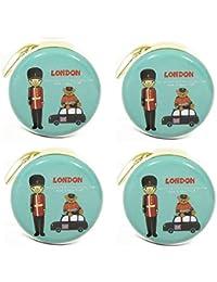 Stealodeal Round Aluminium Zipper Headphone Case London LC-05  Pack Of 4  (Multicolor) (All Earphones )