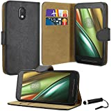 Motorola Moto E3 Case, Premium Quality Leather Wallet Case Cover Comes with Moto E3 Screen Protector & Stylus Pen / Moto E3 Case
