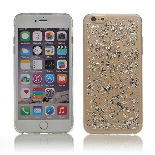"iProtect Apple iPhone 6 Plus (5,5"") biegsame TPU Soft Case Hülle Glitzer Pailletten Design in Rosegold IP6+ Design Silber"