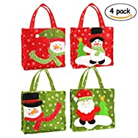 Rocita Christmas Tote Gift Bags Set of 4 with Featuring Santa Claus and Snowman for Xmas Present and Candy Bags