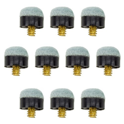 Lot of 10 12mm Soft-tip Brass Screw-on Pool Cue Tips by Felson Billiard Supplies by Felson Billiard Supplies (Pool Cue Tip Soft)