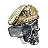 Punk 925 Sterling Silber Karibik Pirat Skull Totenkopf Ring mit Gold Hat verstellbar