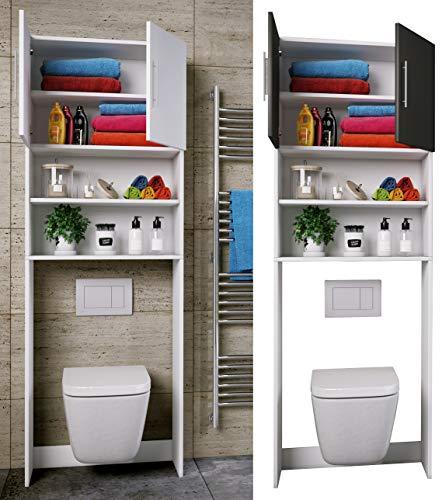 #VCM WC Überbauschrank Toilette Schrank Badschrank Badregal Badmöbel Hochschrank Totas 190 x 64 Weiß#