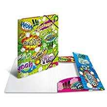 HERMA Elastic Folder Artline with Comics Motif, A4, Sturdy Plastic, with Inner Print, 1 Span Folder