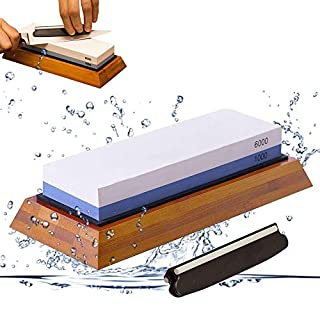GuardGal Premium Sharpening Stone, Stoneware 1000/6000, Non-Slip Rubber Stone Holder, Double Sided Sharpening Stone