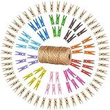 Sinoest 100m Jute Ficelle Naturel + 100 Pince à Linge en Bois 3.5cm Clip pour Papier Photo (50 Coloré+50 Original ) - Décoration Craft Scrapbooking Fête Maison Mariage Noël