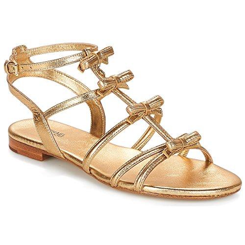 Michael MICHAEL KORS Veronica Flat Sandal Sandalen/Sandaletten Damen Gold - 38 1/2 - Sandalen/Sandaletten (Flats Kors Gold Michael)