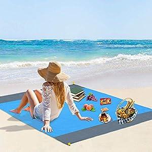 Vegena Picknickdecke Wasserdicht 210 x 200 cm, Stranddecke Sandfrei Matte mit 4 Pfosten und Tasche, Ultraleicht Kompakt…
