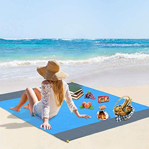 Vegena Picknickdecke Wasserdicht 210 x 200 cm, Stranddecke Sandfrei Matte mit 4 Pfosten und Tasche, Ultraleicht Kompakt Sandabweisend Strandmatte Outdoor Campingdecke für Reisen Wandern Camping