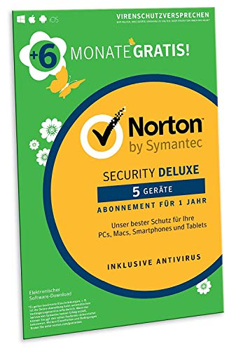 Norton Security Deluxe 2019 | 5 Geräte | 18 Monate Laufzeit| Schutz für PC/Mac/iOS/Android | Download, Aktivierungscode in Frustfreier Verpackung