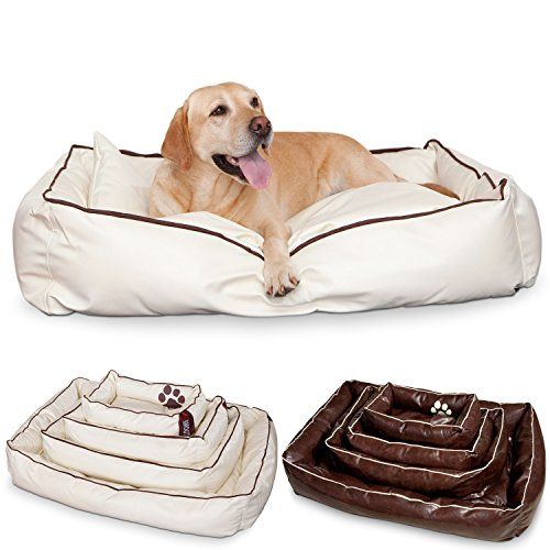 Unbekannt Smoothy Hundekorb aus Leder; Hunde-Körbchen; Hundebett für Luxus Vierbeiner; Beige-Weiß Größe L (106x74cm)