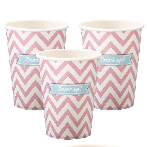 ginger-ray-papier-rose-parti-cups-boire-chevron-divine