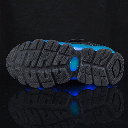 AFFINEST Enfants Chaussures LED Light Up Sneakers Sport Outdoor Sneakers dentelle chaussures de basket-ball pour Unisexe garçons Filles Bleu