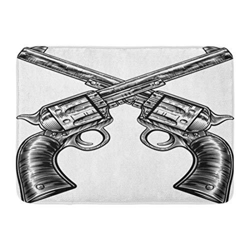 Fußmatten Bad Teppiche Outdoor / Indoor Fußmatte Paar gekreuzte Pistole Revolver Pistole sechs Shooter Pistolen gezeichnet in Vintage Retro Holzschnitt geätzt graviert Badezimmer Dekor Teppich Bademat -