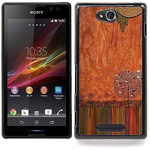 For Sony Xperia C Case , Pastello a olio Albero arte disegno - Design Pattern Duro Staccabile Stile Telefono Cellulare Nuovo Caso Cover Guscio Duro