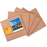 "5 Pack Square Cork Board Tiles with Adhesive 12 x 12""- Chougui Mini Wall Bulletin Boards, Pin Board Decoration for Photos, Pictures, Sticky Notes, Drawing"