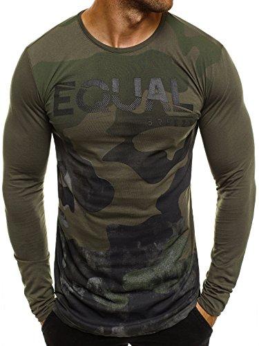 Ozonee maniche lunghe uomo felpa maglia a maniche lunghe mimetico esercito stile militare athletic 1089 - verde_breezy-171335, l