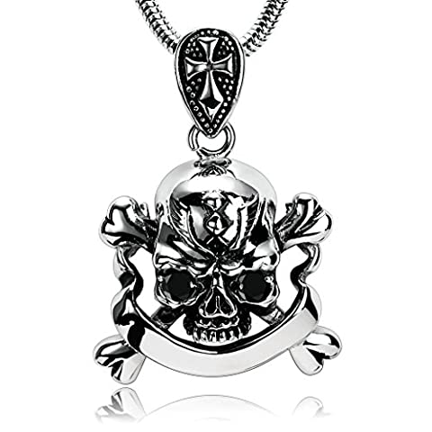 Epinki Stainless Steel Mens Silver Black Pirate Skull Bones Head Cross Cubic Zirconia Pendant