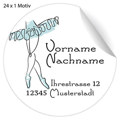 5x24 personalisierbare Ballett Adress-Aufkleber mit Ballerina im Tütü, hellblau, MATTE Papier Sticker mit ihrem Text für Geschenke, universal Etiketten, Namens Schilder für Tischdeko (4,5cm)