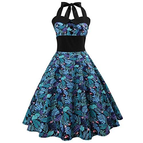 SANFASHION Damen Vintage Druck Bodycon ärmelloses Halter Abend Partei Abschlussball Schwingen Kleid