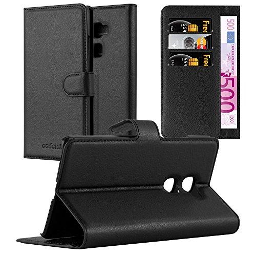 Cadorabo Hülle für Huawei Mate S - Hülle in Phantom SCHWARZ – Handyhülle mit Kartenfach und Standfunktion - Case Cover Schutzhülle Etui Tasche Book Klapp Style
