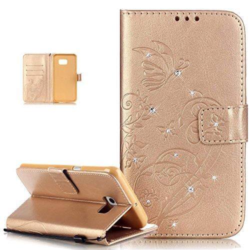 Kompatibel mit Galaxy S6 Edge Plus Hülle,Strass Glänzend Prägung Blumen Reben Schmetterling Muster PU Lederhülle Handyhülle Taschen Flip Wallet Ständer Etui Schutzhülle für Galaxy S6 Edge Plus,Golden