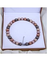 Schmuckwilly Muschelkernperlen Perlenkette Perlen Collier - multifarbig Hochwertige Damen Halskette aus echter Muschel 14mm mk14mm146