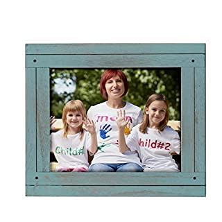 Adeco 8x10 inch Turqorise Blue Distresssed Wood Decorative Wall Hanging Desktop Tabletop Display Print Picture Photo Frame - Made to Display 8x10 Photo