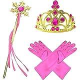 GenialES Disfraz Dress Up Princesa Accesorios Diadema Guantes Varita Mágica Collar Trenza para Cumpleaños Carnaval Fiesta Cosplay Halloween Niñas Talla única
