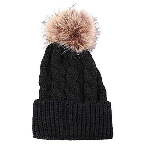 Strickmützen,Amlaiworld Frauen Mode halten warme Wintermützen gestrickt Wolle säumen Hut (Männer Frauen Fedora)