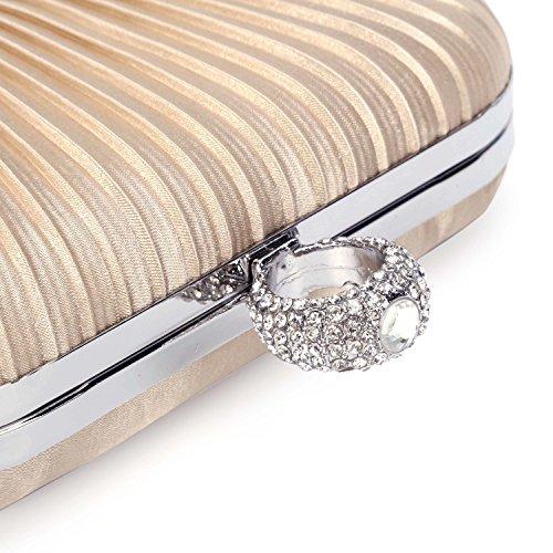 CLOCOLOR Borsa da Sera a mano da Donna con Tracolla Rimovibile Borse di Satin Diamante Davone Pochette da Cerimonia Matrimonio Cocktail Party con Diamanti Cristalli Luminosi Albicocca Albicocca
