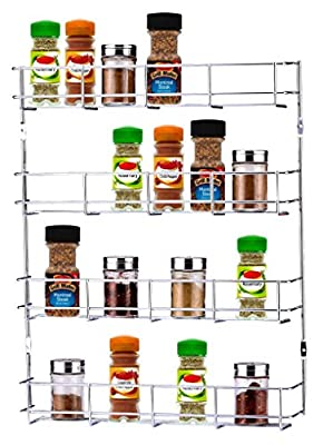 Buckingham 4 Tier Back of Door Spice Jar and Packet Rack, Metal, Chrome, 40.5 x 6 x 50 cm by fitmykitchen