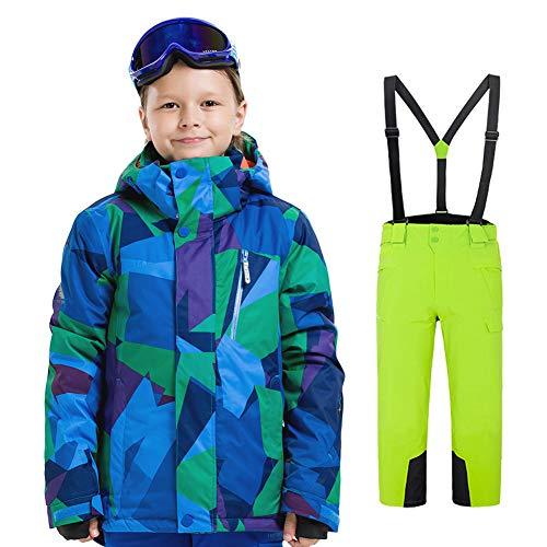 LPATTERN Traje de Esquí para Niños/Niñas Traje Conjunto de Nieve Impermeable para Deportes de Invierno, Azul A+Verde, 120/5-6 años