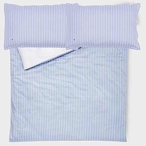 y Bettbezug für Doppelbett, Satin, 110 Fäden, SACCA Satin, 2 Kissenbezüge, ohne Spannbettlaken Marineblau ()