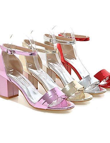 UWSZZ IL Sandali eleganti comfort Scarpe Donna-Sandali-Formale-Aperta-Quadrato-Vernice-Rosa / Rosso / Argento / Dorato Silver