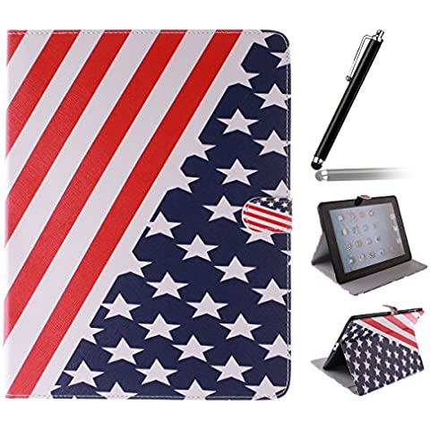 Ipad 2 3 4 Wallet Cover, Ipad 2 3 4 Flip Leather Case Back Cover, Ukayfe Stand Function PU Leather Case Premium Soft Slim Cover Bookstyle with Magnet Closure Credit Card Holder Slots for Apple iPad 2 3 4 iPad 2 iPad 3 iPad 4 with 1 x Black Stylus - stars stripes