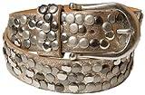 styleBREAKER Nieten Gürtel im Vintage Style mit echtem Leder 03010008 (95cm, Gold)