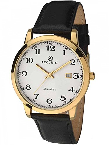 Accurist Mens Gold Plated Black Leather Strap Watch 7027