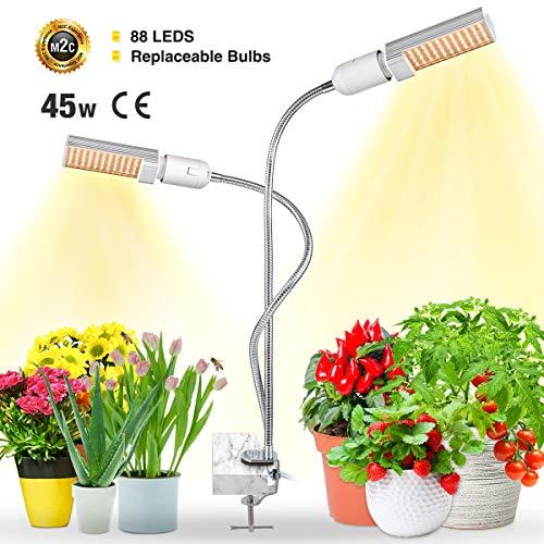 Bozily Pflanzenlampe LED 45w Grow Lampe Vollspektrum Pflanzenlicht mit 4 dimmbare Modi, 2 Austauschbare Birnen für E26 / E27 und Flexibler Schwanenhals Wachstumslampe für Zimmerpflanze
