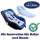 Rückeneinlage / Schoner für Babyschale Kissen Autositz Sevibaby Kopfstütze BLAU