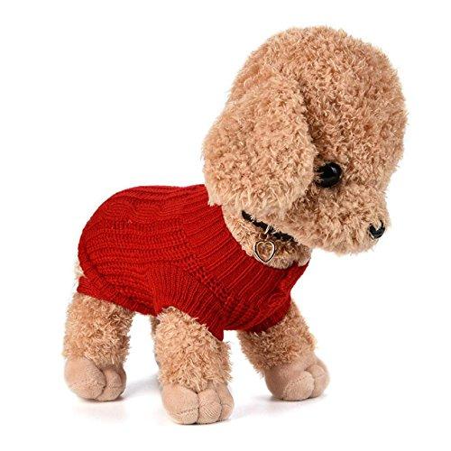 Imagen de ropa para perros, internet puente de punto para mascotas suéter de invierno disfraz de peluche s, rojo