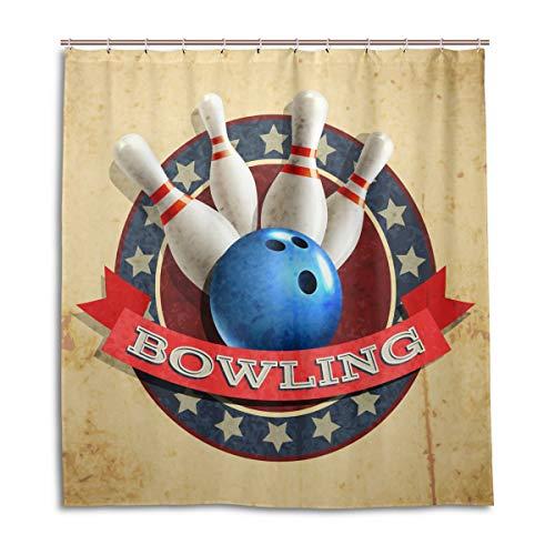 Bowling Sport Ball Muster Wasserdicht Schimmelresistent Bad Vorhang Badezimmer Home Decor 168 x 182 cm mit 12 Haken ()
